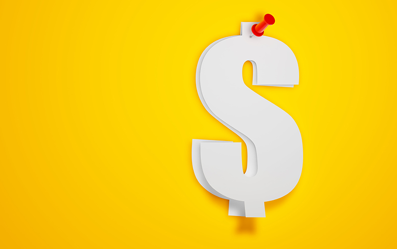 Dollar sign to show coupon quote with digital marketing