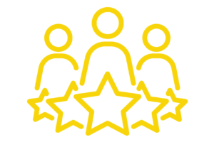 Icon for a five-star team of marketing professionals.