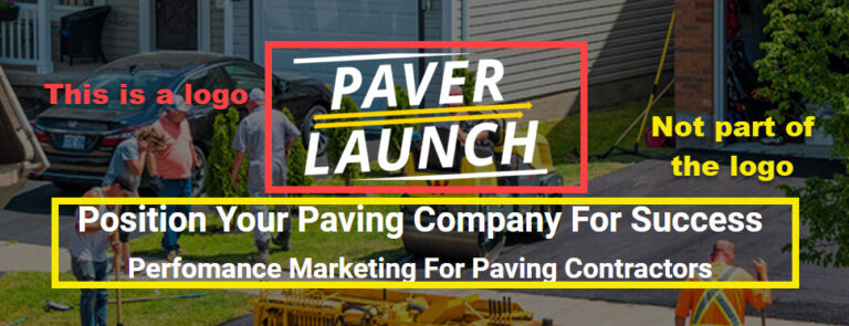 Explanation of the difference between a paving logo and additional text on certain promotional items.