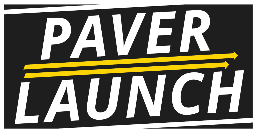 Paver Launch logo as an example of a good paving logo.