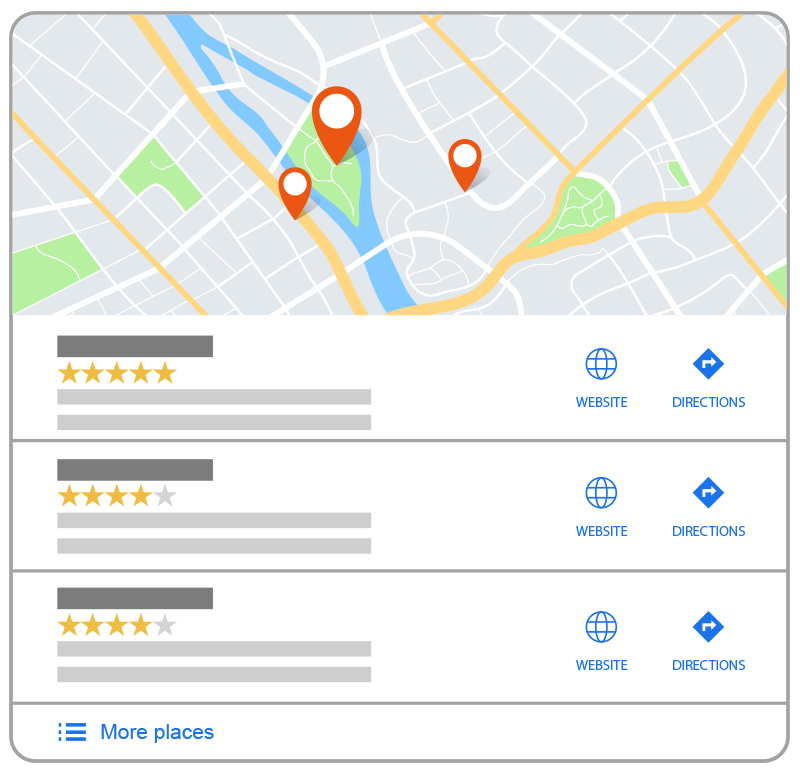 Google Maps 3-Pack listing