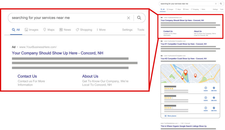 Shows where Google Ads and Google 3-Pack listings will show for paving companies