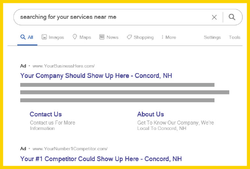 Google search results showing that you want your paving company at the top of search results.